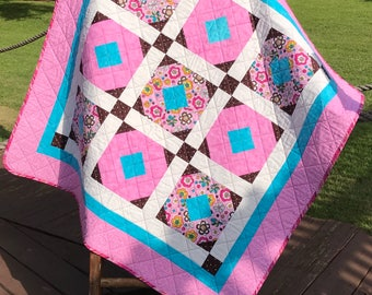 "Retro Whimsy, Polka Dots, Chocolate Brown, Pink and The Cheerio Quilt Pattern Altogether In This 41.5"" X 41.5"" Quilt"