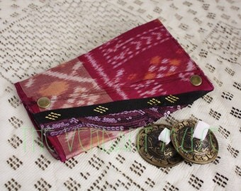 Large Assuit Zil Bag- Purple and Gold Ikat Silk with Black & Gold Assiut Finger Cymbals Pouch