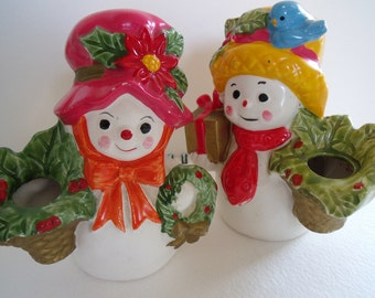 Set of 2 Vintage 1950's Napcoware Snowman and Snow woman candleholder's, Christmas decoration, collectible, Japan