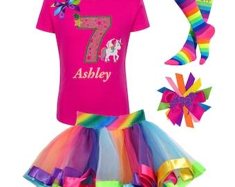 Unicorn Birthday Shirt 7th Birthday Outfit Rainbow Tutu Unicorn Dress Pony Party Pink Unicorn Socks Unicorn Hair Clip Believe In Unicorns 7