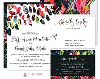 Colorful Wedding Invitation 3 Pc Bold Wedding Invitation Set Elegant Wedding Invitation Suite Watercolor Wedding Invites RSVP Set - Steffi