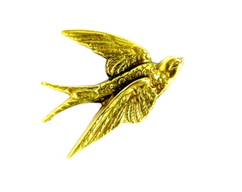 Vintage Brass Bird Wall Hanging, Mid Century Gold Flying Swift Swallow Wall Decor Made in England