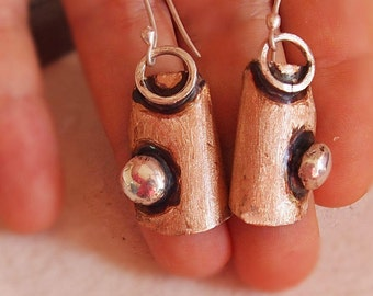 "Metalsmith Jewelry, Large Dangle Earrings, Mixed Metal Jewellery, Bronze & Sterling Silver, "" Toprak / Soil "" Collection"