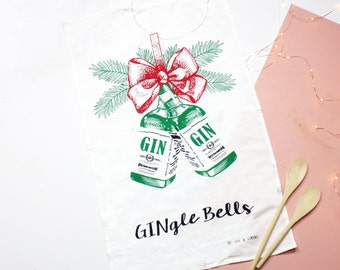 Christmas Tea Towel, Christmas Dish Cloth, Gin Tea Towel, Kitchen Towel, Gift for Mum, Gin Gift, Christmas Gift, Holiday Tea Towel, Xmas