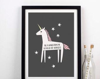 Be A Unicorn Print, Unicorn Art, Unicorn Home Decor, Unicorn, Art Print, Unicorn Wall Decor, Girls Room Decor, Unicorn Poster, Wall Art