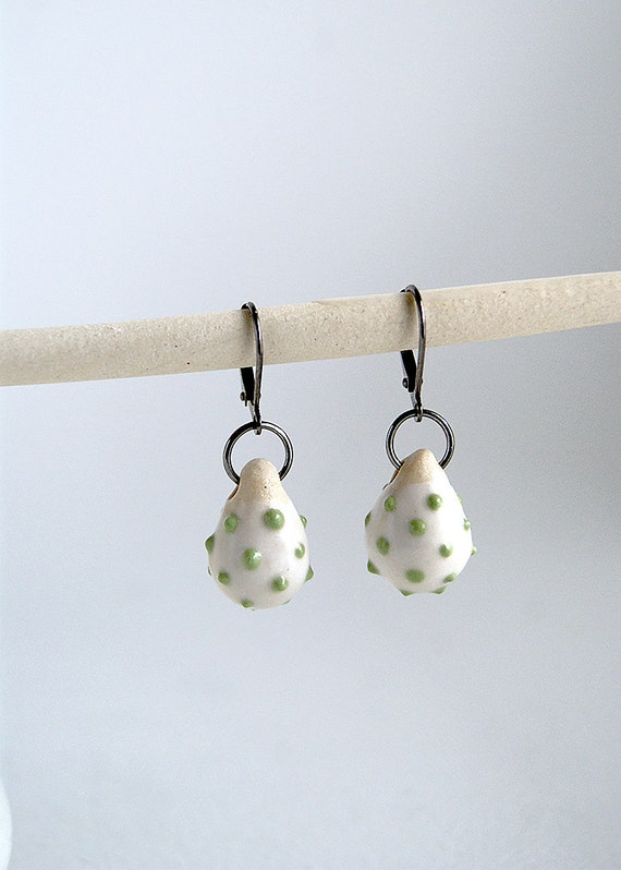 porcelain earrings - light green dots