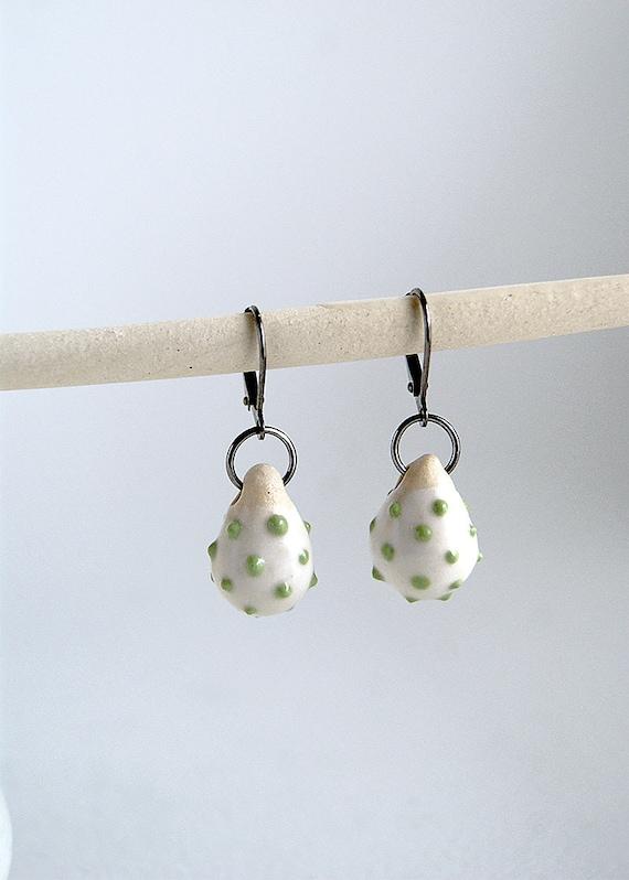 porcelain earrings - light green dots