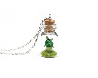Korok Necklace, Legend of Zelda, Gamer Gift, Breath of the Wild - tiny terrarium bottle necklace, 2.5cm, 16 inch chain