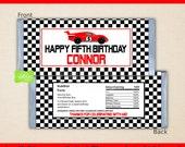 Race Car Chocolate Bar Wrappers - Race Car Candy Bar Wrapper - Racing Candy Wrappers - Digtal & Printed Available