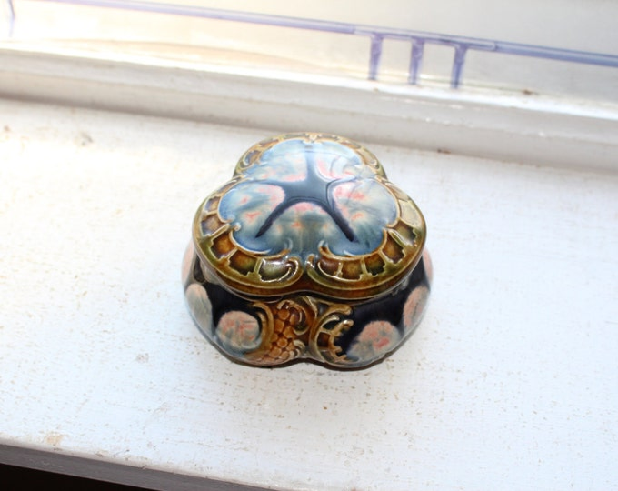 19th Cent. Majolica Covered Trinket Box Antique Pottery
