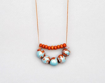 Blue And Orange Necklace,  Ceramic And Wood Necklace