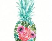 Watercolor Floral Pineapple, original painting, 11x14, blue, pink, green, watercolor fruit, pineapple art, tropical painting