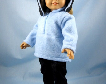 18 Inch Doll Clothing - Fits American Girl Dolls - Penguin Hat, Zip Fleece, Jeans - Three Piece Doll Set