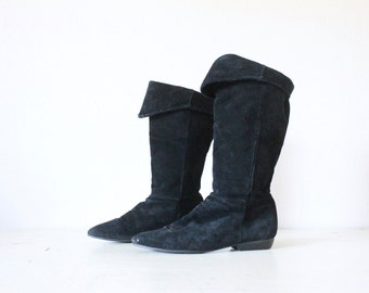 Vintage Black Suede Leather Boots 7.5/8.5