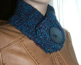 Blue Scarf Scarflet large blue grey button non functioning button scarf collar upcycled yarn