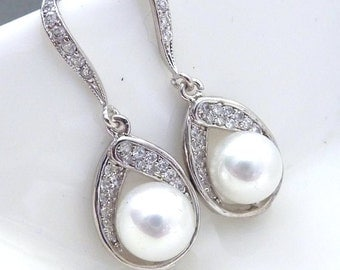 Bridal Pearl Earrings - White Round Pearl Cubic ZIrconia Setting with White Gold Plated CZ Earrings