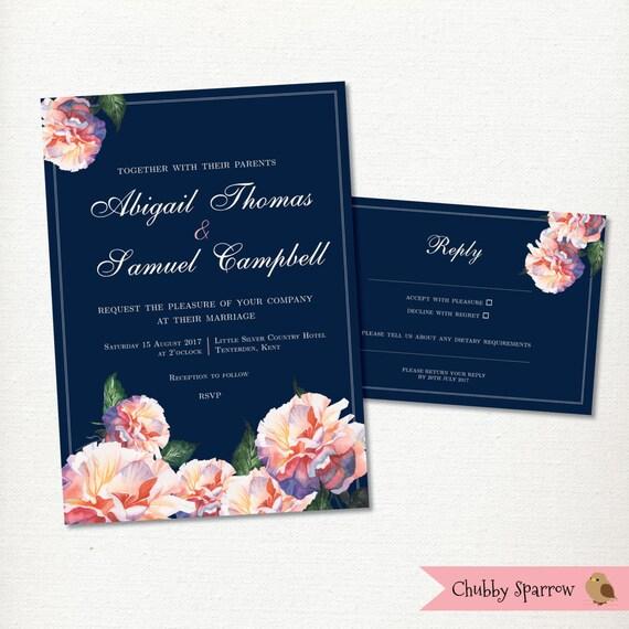 navy blue wedding invitation rsvp card set flowers blue roses