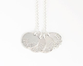 Silver Four Name Mommy Charm Necklace - Sterling Silver 4 Disc Mothers Jewelry