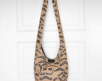 Hobo Bag Boho Bag Crossbody Bag Sling Bag Hippie Purse Printed Burlap Jute Country Chic Rustic Mustaches Handmade Purse Boho Purse Hobo Bag