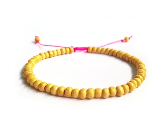 Wooden Bead Anklet, Hot Pink Anklet, Wood Beaded Ankle Bracelet, Beach Jewellery UK