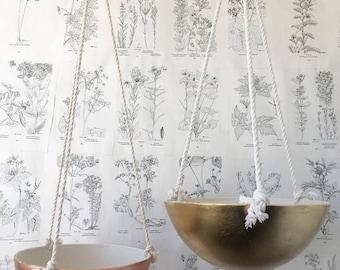 Metallic Hanging Bowls, Copper or Gold Leaf Porcelain, 3 Size Options