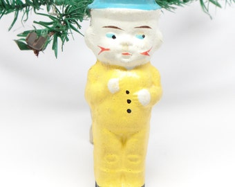 Antique 1930's German Boy Doll Christmas Ornament, Pressed Cardboard, Hand Painted