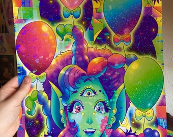 HOLOGRAPHIC 11x17 Balloon Alien Poster
