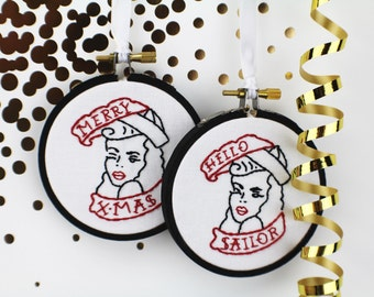 Pin Up Tattoo Hoop Art Christmas Ornament Mini Hoop Handmade Retro Gift for Her Gift for Him Embroidered Ornament Gift under 20