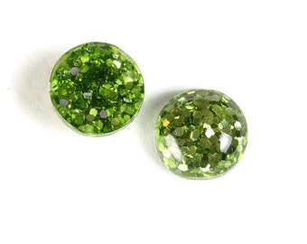 12mm Green round resin cabochon - Green Glitter Cabochon - Domed Flat Back cabochons  - 12mm glitter cabochons (1816) - Flat rate shipping