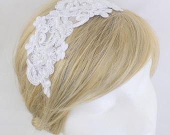 White Pearl Beaded Lace Headband, Bridal Hair Band, White Lace Head Piece, Bridesmaid Headband, Prom Headband, HB-40