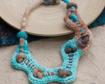 Knitted aqua brown necklace, OOAK fiber statement jewelry