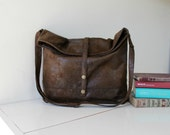 Vegan messenger bag,foldover crossbody,FAUX LEATHER, faux suede in chocolate brown,slouch handbag.Adjustable strap.Minimalist classic design