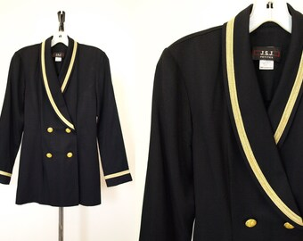 Vintage 80s black gold nautical womens double brested blazer size S small