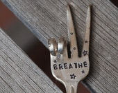 BREATHE Garden Marker stake herb pots Made from Vintage Silver Plate FORK PEACE Sign with Stars
