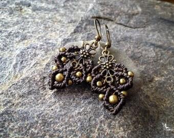 Small macramé bohemian earrings Dark kaki boho jewelry by Creations Mariposa READY TO SHIP