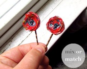 """Girls Stocking Stuffer for Her, 2 Red Floral Hair Pins for Women, Decorative Bobby Pin Girls Hairpin, 1"""" Fabric Flower, Cute Tiny Hair Clip"""