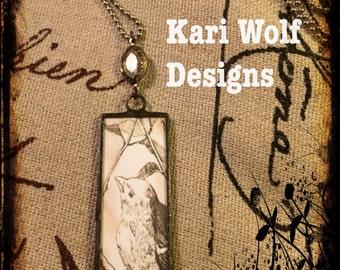 Bird, Soldered, Necklace, Glass, Handmade, Bird on a branch, Created By: Kari Wolf Designs