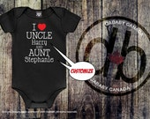 I Love My Uncle and Aunt, Personalized Aunt and Uncle Bodysuit Auntie & Uncle T-shirt, Baby Shower Gift, Newborn Baby Clothes, Cute Baby Tee