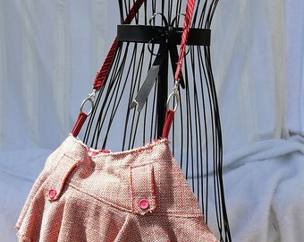 Upcycled Skirt Bag, Repurposed Skirt, Skirt Bag, Large Bag, Shoulder Bag, Large Purse, Purse, Hobo Purse, Red Purse, Upcycled Recycled Bag