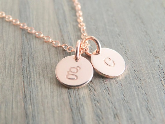 Rose gold necklace dainty rose gold initial necklace like this item aloadofball Choice Image