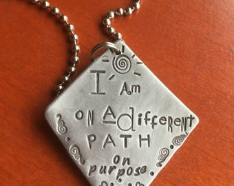 Hand Stamped Metal I am on a different path on purpose Hand made Jewelry Quote with Meaning Not all Who wander are lost Gypsy Soul