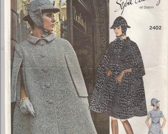 Sybil Connolly Cape, Hat & Dress Pattern Vogue 2402 Size 10