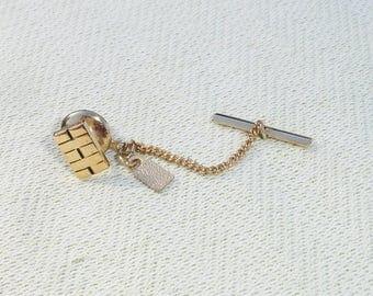 Golden Rectangular SWANK Tie Tack - Gold Colored Swank Tie Stay - Gold Tie Pin