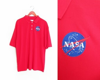 vintage polo shirt / NASA / astronaut / oversize / 1990s red NASA patch polo shirt oversize XL