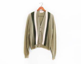 vintage cardigan / grandpa cardigan / grunge cardigan / 1960s sage green striped alpaca knit cardigan Medium