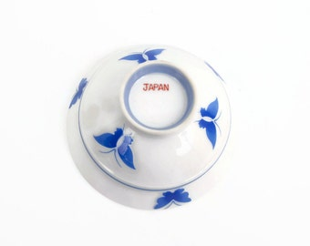 Vintage Blue Butterfly Rice Bowl Japanese Porcelain Enamel Butterflies Sauce Dish Made in JAPAN Blue and White
