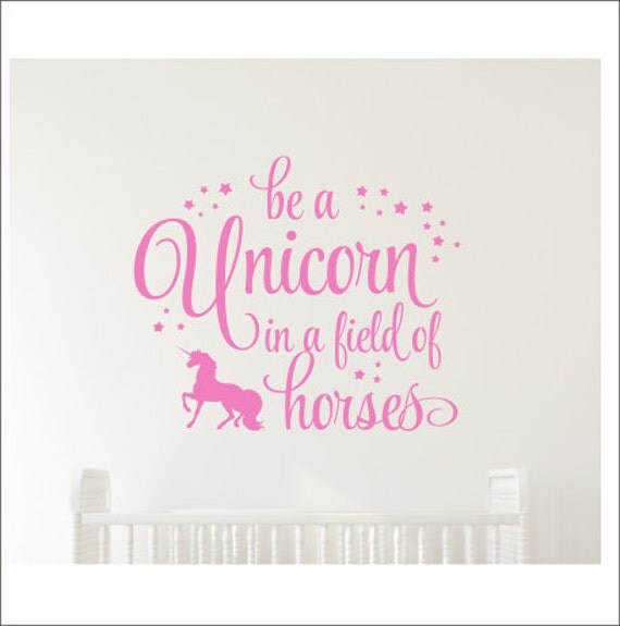 be a unicorn decal in a field of horses wall vinyl girls. Black Bedroom Furniture Sets. Home Design Ideas