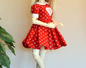 Red and White Hearts Dress and Bloomers Set for MSD sized BJDs