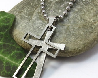 Nesting Men's Cross Necklace, Stainless Steel Rustic Cross Pendant with Ball Chain, Double Cross