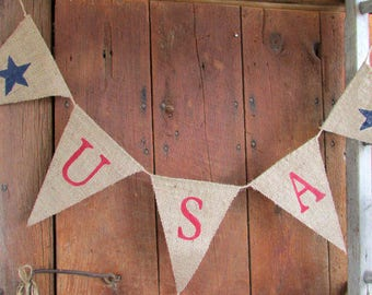 USA Burlap Banner, Americana, 4th of July, Holiday Banner, Patriotic Banner, Memorial Day, Veterans Day, Photo Prop